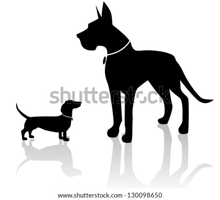 Large and Small Dog Silhouettes. EPS 8 vector, grouped for easy editing. No open shapes or paths.