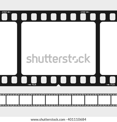 Large and small 35 mm black and white film frames with copy space and strip text