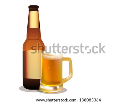Large beer mug and bottle. Vector - stock vector