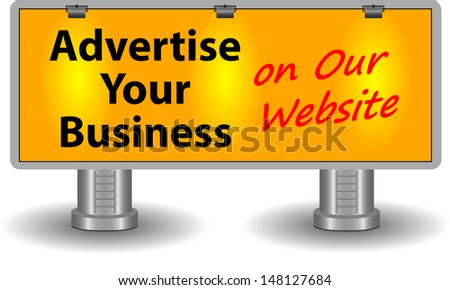 "Large billboard with text ""advertise your business on our website"" with 3 spot lights on. Isolated on white background. - stock vector"