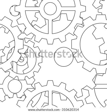 Large black line steampunk gear seamless pattern - stock vector