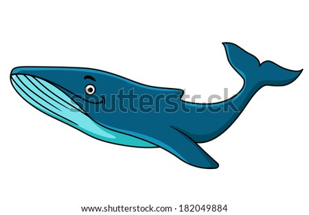 Large blue whale mascot logo with a happy smile swimming underwater, cartoon illustration - stock vector