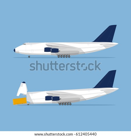 Large cargo airplane. Vector flat illustration