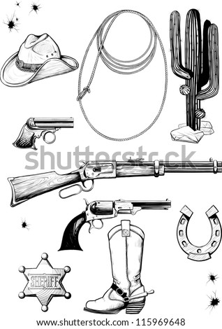 Large collection of cowboy accessories. Weapons, equipment, environment, clothing and lifestyle of the Wild West - stock vector