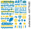 large collection of different elements and days of week, vector - stock vector