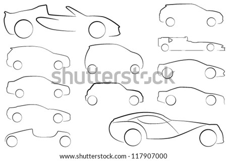 Large Collection of EPS 10 format car outlines in different styles - stock vector