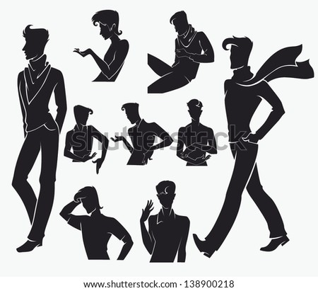 large collection of fashionable men silhouettes in difference poses