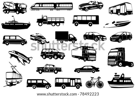 Large collection of icons transport - stock vector