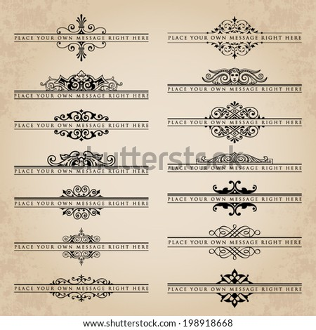 Large collection of ornate headpieces - stock vector