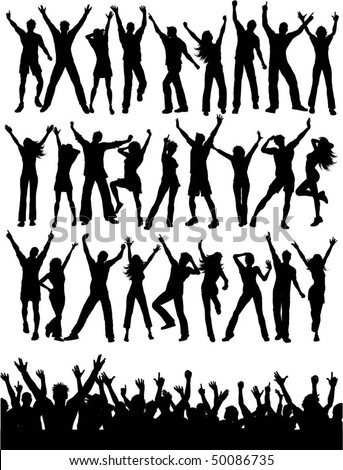Large collection of people dancing and crowd silhouette - stock vector