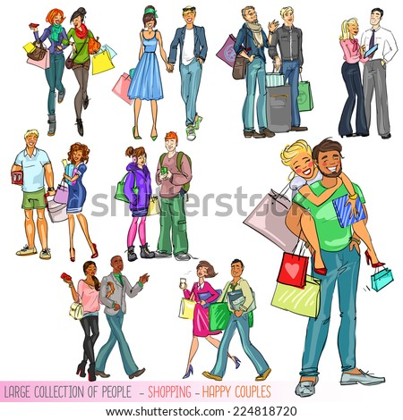 Large collection of people with shopping bags - Happy couples. Isolated - stock vector