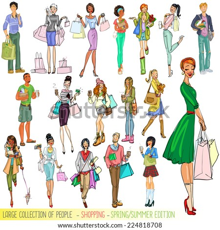 Large collection of people with shopping bags, Spring - Summer edition. Isolated. - stock vector