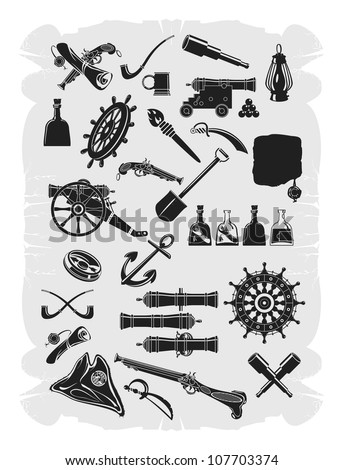 Large collection of pirate. Gray scale, vector - stock vector