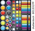 Large collection of shiny colorful bars, buttons, knobs, keys, Vector design elements without transparencies, meshes - stock photo
