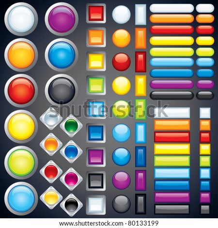 Large collection of shiny colorful bars, buttons, knobs, keys, Vector design elements without transparencies, meshes - stock vector