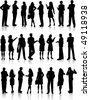 Large collection of silhouettes of business people - stock photo