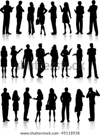 Large collection of silhouettes of business people - stock vector