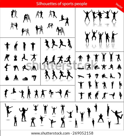 Large collection of silhouettes of sports people