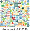 large collection of vector stamps with various tags - stock vector