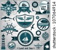 Large collection of vintage nautical labels 2 - stock vector