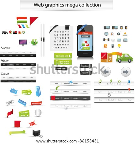 Large collection of web graphics - stock vector