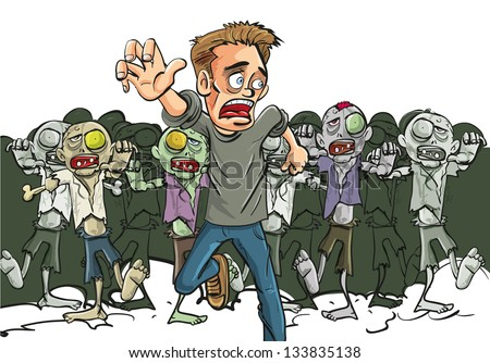 Large crowd of ghoulish undead zombies pursue a running man fleeing for his life after they find a lone survivor of the Zombie Apocalypse, cartoon illustration - stock vector