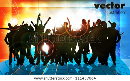 Large crowd of party people - vector background. - stock vector