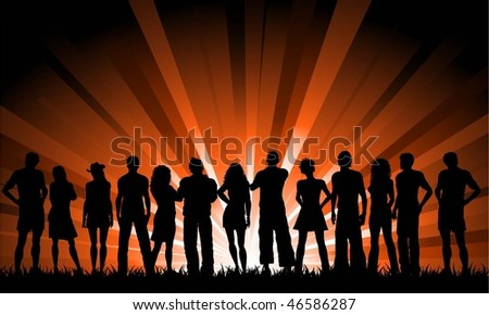 Large crowd of people - stock vector
