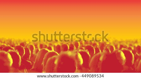 Large crowd of people watching concert or sport event. Vector illustration with halftone screen line effect - stock vector