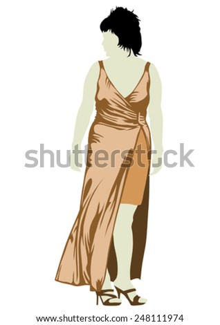 Large crowd of young girls on white background - stock vector