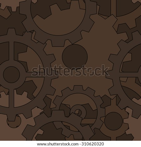 Large dark brown steampunk gear seamless pattern - stock vector