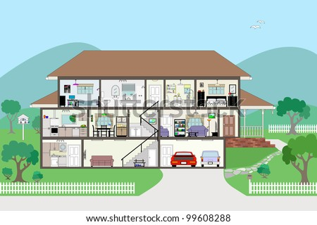 Large Detailed Modern House Interior Cutaway layered & grouped EPS8 - stock vector