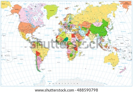 Political World Map Borders Countries Cities Stock Vector - Political world map