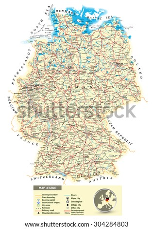 Large Detailed Road Map Of Germany With All Cities, Villages, Water  Objects, Mountains