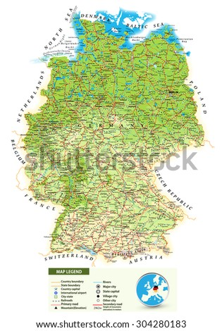 Large Detailed Road Map Germany Topographic Stock Vector - Germany map detailed