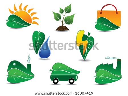 Large Ecology Icon Set. Easy to edit vector. - stock vector