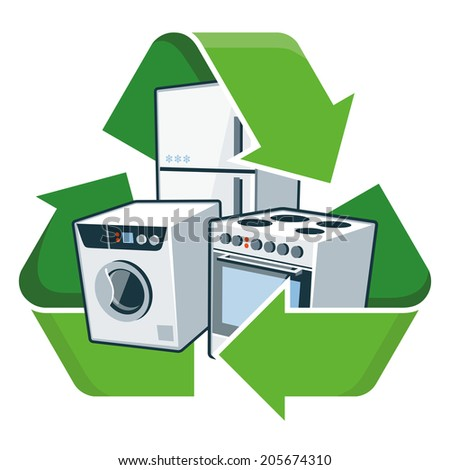Large electronic home appliances with recycling symbol. Isolated vector illustration. Waste Electrical and Electronic Equipment - WEEE concept. - stock vector