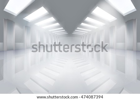 Large empty hall. Vector illustration.