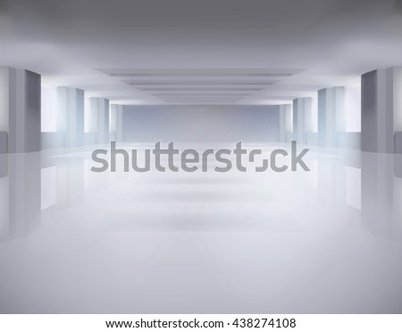Large empty room. Vector illustration. - stock vector