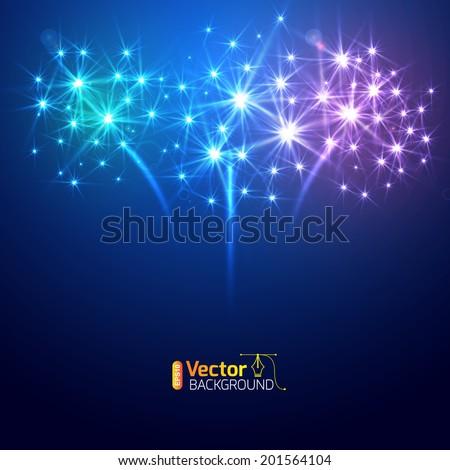Large Fireworks Display - vector illustration.  - stock vector
