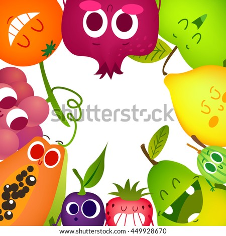 Large fruit set in cartoon style. Cheerful faces and characters. Children's illustration. A healthy and proper food. Time to drink a smoothie and juice. - stock vector