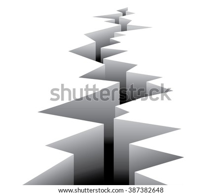 Large gaping Fault line crack in ground  - stock vector
