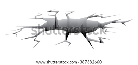 Large gaping impact crater crack in ground  - stock vector