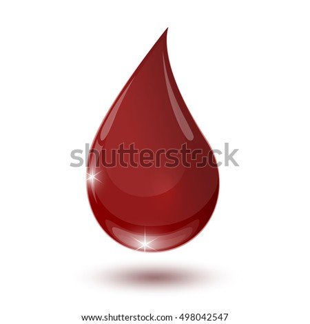 large glossy red drop of blood on a white background