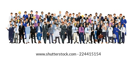 Large group crowd of different age men male professionals businessmen vector illustration - stock vector