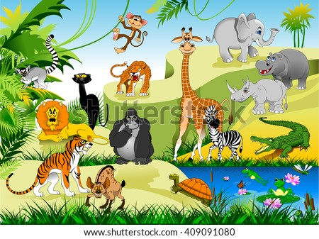 large group of animals in the green jungles, vector and illustration