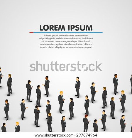 Large group of businessman. Clean vector background