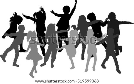 Large group of children playing.People silhouettes.