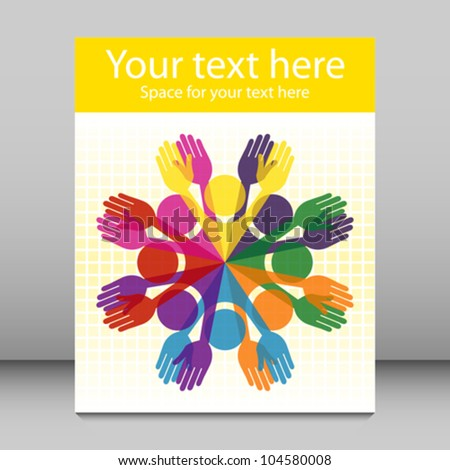 Large group of colorful people leaflet design. - stock vector