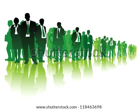 Large group of green people standing over white background. - stock vector